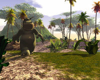 Cartoon character in jungle. A large cartoon character walking in a tropical jungle Stock Image