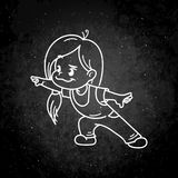 Cartoon character, kid with toy airplane., vector eps10 royalty free illustration