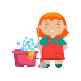 Cartoon character little girl with mop for cleaning floors Royalty Free Stock Photography