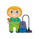Cartoon character little girl with vacuum cleaner Stock Photo