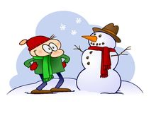 Cartoon character looking at a snowman. A happy male cartoon character looking at the snowman with hat, scarf and carrot nose, he just built Stock Images