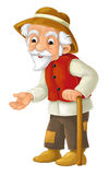 Cartoon character - male farmer - old man -  Royalty Free Stock Photo