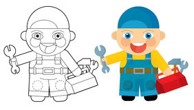 Cartoon character - mechanic - coloring page Stock Image