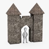 Cartoon character with medieval building - gate Royalty Free Stock Images
