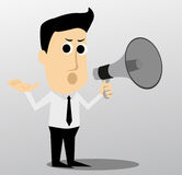 Cartoon character with a megaphone Stock Photo