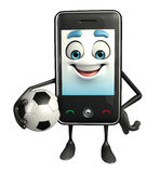 Cartoon Character of Mobile with football Royalty Free Stock Image