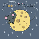 Cartoon character mouse gnaws the moon made of cheese Stock Photos