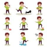 Cartoon character of naughty kid set, playing games and making mess. Cartoon character of naughty kid. Shooting with slingshot, torturing animals, making mess Royalty Free Stock Image