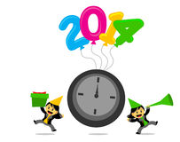 Cartoon character with new year 2014 themes Royalty Free Stock Images