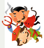 Cartoon character - nobleman flying carried by a devil - isolated Royalty Free Stock Photos