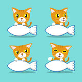 Cartoon character orange cat with big fish sign Royalty Free Stock Images