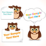 Cartoon Character Owl Showing Blank Banners Stock Photo