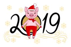 Cartoon character pig in a red hat and a scarf royalty free illustration