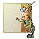 Cartoon character pointing. Pointillism character: insert your text or image stock illustration