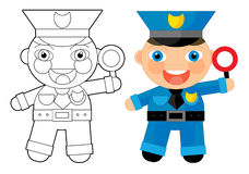 Cartoon character - policeman - coloring page Stock Image