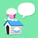 Cartoon character poodle dog and kennel with speech bubble. For design Stock Image