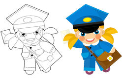 Cartoon character - postman girl - with coloring page Royalty Free Stock Photography