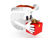 Cartoon character with present Stock Photography
