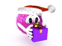Cartoon character with present Royalty Free Stock Photo