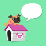 Cartoon character pug dog and kennel with speech bubble Stock Photos