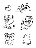Cartoon character pug dog poses. Cute Pet dog in the flat style. Set dogs. Cute dog of pug breed. Vector collection of cute cartoo Stock Photo