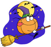 Cartoon character pumkin riding a broom Stock Image