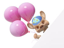 Cartoon character puppy dog with balloon behind poster 3d render Royalty Free Stock Photography