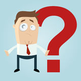 Cartoon Man with Question Mark Royalty Free Stock Photos