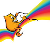 Cartoon character - riding rainbow Stock Images