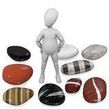 Cartoon character with river stones. 3d render of cartoon character with river stones vector illustration