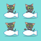 Cartoon character russian cat with big fish sign Royalty Free Stock Photography