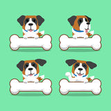 Cartoon character saint bernard dog with big bones Royalty Free Stock Photos