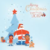 Cartoon character of Santa Claus, Kids and Christmas tree with Hand written Merry Christmas. Cute cartoon character of Santa Claus, Kids, candy, cookie and vector illustration