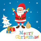 Cartoon character Santa Claus on a winter landscape Stock Photography