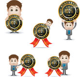 Cartoon character and satisfaction badge Royalty Free Stock Photo