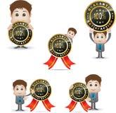 Cartoon character and satisfaction badge Royalty Free Stock Photo