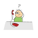 Cartoon character scratching its head in confusion. Fun  cartoon character scratching its head in confusion as he holds a telephone handset in its hand with a Royalty Free Stock Photography