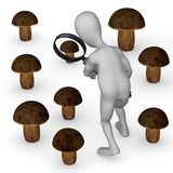 Cartoon character searching mushroom Royalty Free Stock Photo