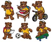Cartoon Character Set Of Cute Little Bear Royalty Free Stock Photography