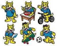 Free Cartoon Character Set Of Cute Little Wildcat Stock Images - 106421354