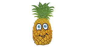 Cartoon character in the shape of a pineapple illustration. Cartoon character in the shape of a pineapple on white background illustration Stock Photo