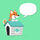 Cartoon character shiba inu dog and kennel with speech bubble. For design Stock Images