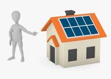 Cartoon character showing solar house Royalty Free Stock Photo