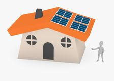 Cartoon character showing solar house2 Stock Photography