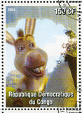 Cartoon character Shrek. CONGO - CIRCA 2004: stamp printed by Congo, shows cartoon character Shrek, donkey, circa 2004 Royalty Free Stock Images