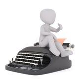 Cartoon character sitting on retro typewriter Stock Photography