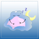 Cartoon character sleeping on pillow. Cute Cloud in glasses  illustration. Stock Photos