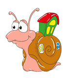 Cartoon character snail  on white background. Cute snail with a house on his back Royalty Free Stock Image