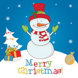 Cartoon character snowman on winter landscape Royalty Free Stock Images