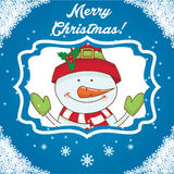 Cartoon character snowman on winter landscape Royalty Free Stock Photos